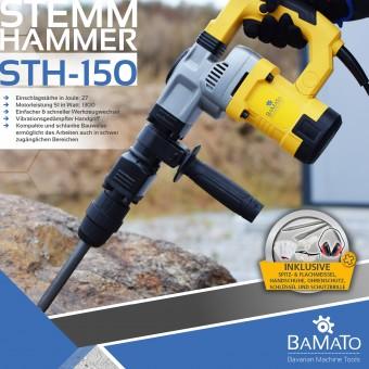 BAMATO Stemmhammer / Abbruchhammer STH-150 mit 7-tlg. Zubehörset
